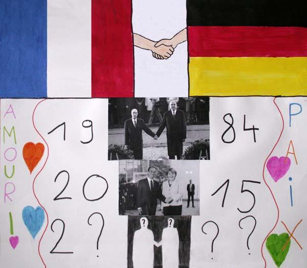 La réconciliation de la France et de l'Allemagne s'est faite en 1945 suite à l'armistice mais les deux pays l'ont montré en 1984 par le recueillement des deux chefs d'états, main dans la main, signe très fort. Au fil des années les chefs d'états qui se sont succédé l'ont montré aussi et les suivants, le feront également. (Classe de CM2, école de Vaubécourt, 55250 Vaubécourt).