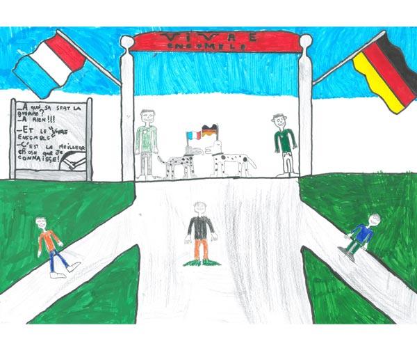 Représente le vivre-ensemble entre la France et l'Allemagne : les chemins de ces 2 pays se rejoignent. (École élémentaire du Châtel - 54 230 Chavigny)