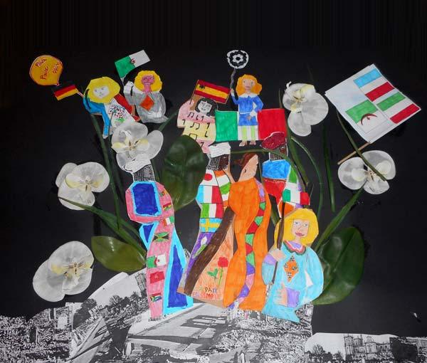 Des ruines jaillirent la vie, l'amour et la tolérance est un tableau mettant en scène la vie qui a jailli des ruines de Verdun (École élémentaire Louis Pasteur, CM2)