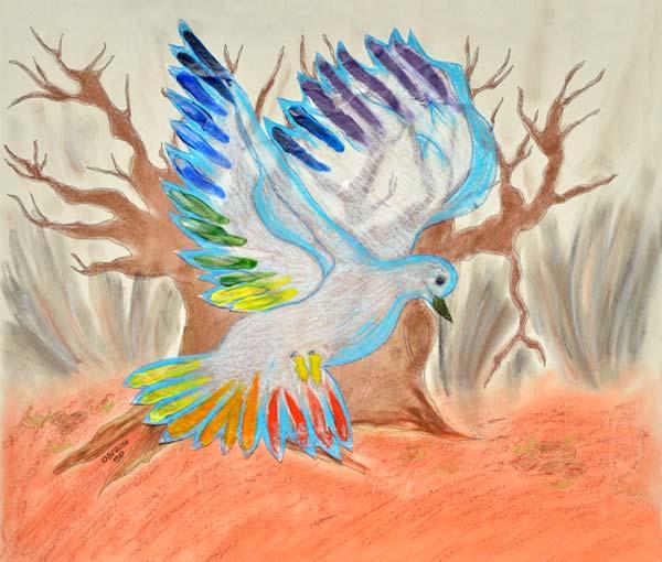 """L'oeuvre nommé """"Le messager des couleurs"""" alliant le pastel à l huile, papier calque, collage et peinture représente 3 phases du temps """"le passé, le présent et l'avenir"""". il représente un arbre mort (nos racines, nos aïeux les poilus), devant celui-ci se trouve en transparence (travail sur calque) une colombe aux ailes arc en ciel (le messager des couleurs) celle-ci représente évidemment la paix avec l'espoir que nos descendants en seront les garants, les touches de couleur aux nuances d'arc en ciel ont étaient apposé par les enfants laissant ainsi leur empreinte. En légende """"ils sont nos racines, laissons à notre tour notre empreinte et soyons les messagers de demain"""". (École maternelle """"Les Monthairons"""" - élèves de GS/CP et participation de CM1/CM2)."""
