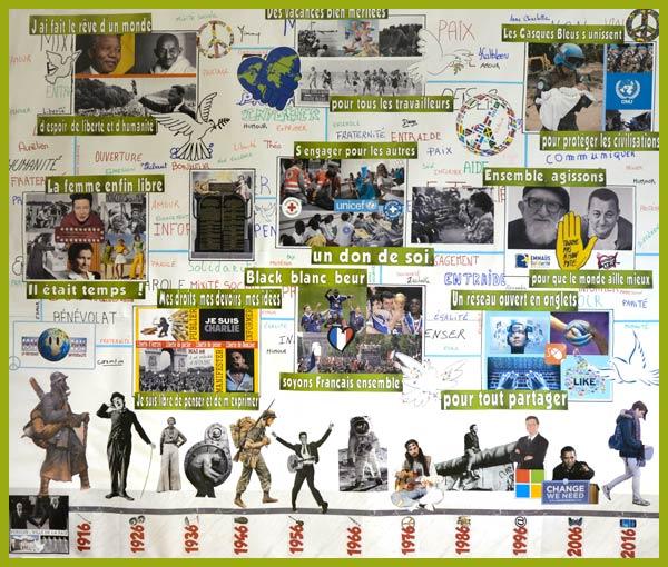 Photo-collage représentant une frise historique symbolisant les valeurs de la république, les adultes qui les encadrent sont l'infirmière et l'assistante prévention sécurité du lycée. (LP Freyssinet, élèves de seconde en accompagnement personnalisé encadrés par l'infirmière et l'assistante prévention sécurité du lycée -Verdun 55 100).