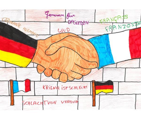 Notre dessin symbolise la paix entre nos deux pays anciennement ennemis mais aujoud'hui amis. Ces deux mains représentent la paix entre l'Allemagne et la France pour montrer qu'ils ne se sépareront JAMAIS. (École élémentaire du Châtel - 54 230 Chavigny)