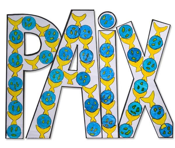La réconciliation trouvée, la paix peut se faire. elle s'écrit en lettres capitales grâce à des colombes et des mondes en paix. (École élémentaire Thierville-Village, élèves de CM1 - 55 840 Thierville-sur-Meuse )