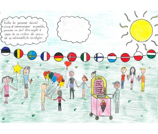 Représente le vivre-ensemble, la fraternité et la tolérance. (École élémentaire du Châtel - 54 230 Chavigny)