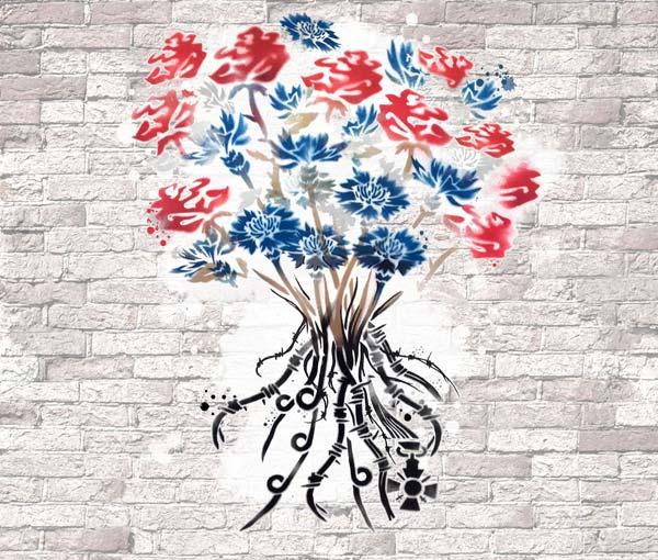 """Le projet reprend l'intitulé du concours de manière littérale: """"Le Mur de l'universalité"""" y est explicitement représenté: C 'est un mur vierge, qui sert de finalement de support au travail des élèves. Ces derniers s'inspirent des œuvres expressifs et poétiques de l'Art Urbain, en reprenant à leur compte ses codes et les ses techniques : La bombe, le pochoir, l'affichage libre... Le bouquet symbolise l'union et l'harmonie même si ses racines témoignent d'un passé sombre et douloureux, aujourd'hui révolu mais indélébile. Les fleurs (Le Bleuet et la Rose) ont elles aussi valeurs de symboles. Leurs couleurs tranchées (Bleu, blanc et rouge) évoquent les valeurs républicaines :""""Liberté, Egalité, Fraternité"""". (LP Freyssinet, CAP 1ère année Peinture et Maçonnerie encadrés par Monsieur Gabriel LAURENT, professeur d'arts appliqués - Verdun 55 100)."""